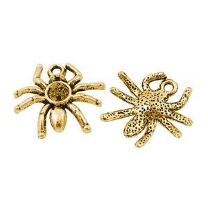 Antique Gold Tibetan Zinc Spider Charms 19mm Pack Of 15 ZX08190