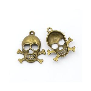 Steampunk Antique Bronze Tibetan Zinc Skull Pendants 27mm Pack Of 10 ZX08215