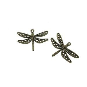 Steampunk Antique Bronze Tibetan Zinc Dragonfly Pendants 35mm Pack Of 10 ZX08495