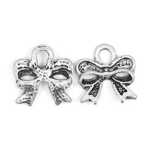 Antique Silver Tibetan Zinc Bow Charms 13mm Pack Of 20 ZX08530