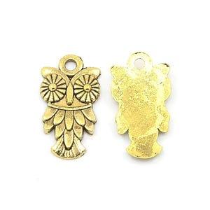 Antique Gold Tibetan Zinc Owl Charms 20mm Pack Of 10 ZX08650