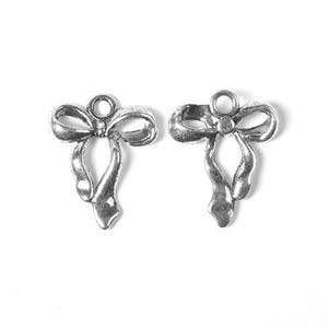 Antique Silver Tibetan Zinc Bow Charms 23mm Pack Of 8 ZX08695
