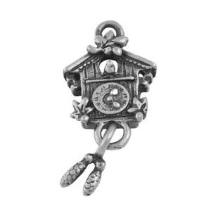 Antique Silver Tibetan Zinc Cuckoo Clock Pendants 25mm Pack Of 10 ZX08750