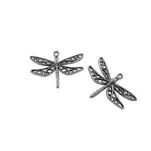Antique Silver Tibetan Zinc Dragonfly Pendants 35mm Pack Of 10 ZX08895