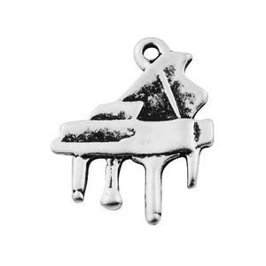 Silver Tibetan Zinc Piano Charms 20mm Pack Of 6 ZX08980