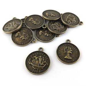 Steampunk Bronze Tibetan Zinc Coin Charms 22mm Pack Of 10 ZX08985