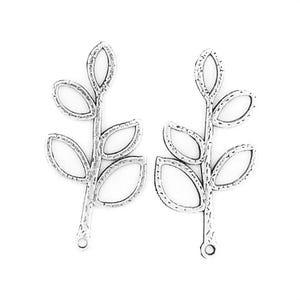 Antique Silver Tibetan Zinc Leaf Pendants 38mm Pack Of 10 ZX09060