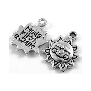 Antique Silver Tibetan Zinc Made With A Smile Charms 16mm Pack Of 20 ZX09115
