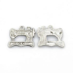 Antique Silver Tibetan Zinc Sewing Machine Charms 20mm Pack Of 10 ZX09170