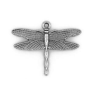 Antique Silver Tibetan Zinc Dragonfly Pendants 36mm Pack Of 10 ZX09245