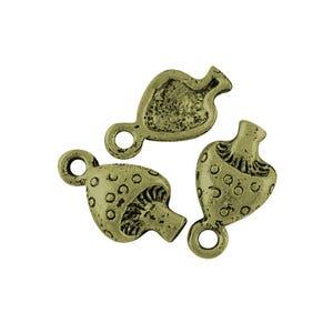 Steampunk Antique Bronze Tibetan Zinc Mushroom Charms 13mm Pack Of 30 ZX09300