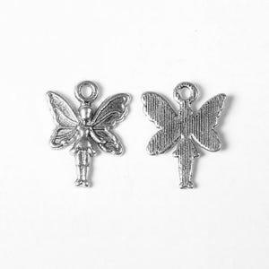 Antique Silver Tibetan Zinc Fairy Charms 20mm Pack Of 20 ZX09335
