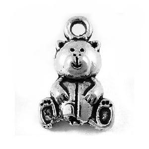 Antique Silver Tibetan Zinc Teddy Bear Charms 16mm Pack Of 20 ZX09350