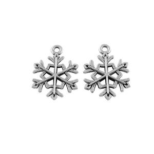 Antique Silver Tibetan Zinc Snowflake Charms 21mm Pack Of 20 ZX09495