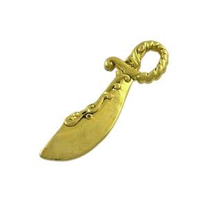 Antique Gold Tibetan Zinc Pirate Cutlass Sword Pendants 25mm Pack Of 20 ZX09880