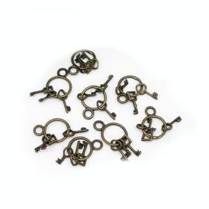 Steampunk Antique Bronze Tibetan Zinc Key Pendants 25mm Pack Of 10 ZX10080