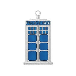 Blue/Silver Enamel Dr Who Police Box Pendants 50mm Pack Of 2 ZX10130
