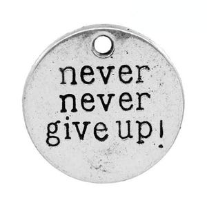Antique Silver Tibetan Zinc Never Never Give Up Charms 20mm Pack Of 5 ZX10160
