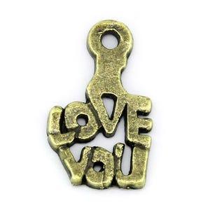 Steampunk Antique Bronze Tibetan Zinc I Love You Charms 15mm Wholesale 3 Packs Of 10 BB-ZX10235