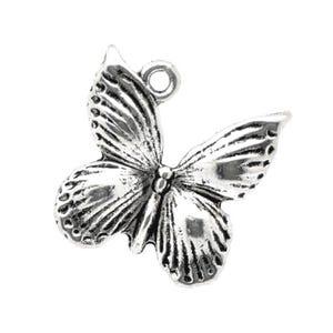 Antique Silver Tibetan Zinc Butterfly Charms 18mm Pack Of 10 ZX10300