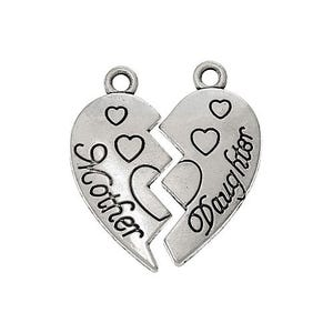Antique Silver Tibetan Zinc Mother Daughter Charms 24mm Pack Of 4 ZX10465