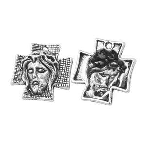 Antique Silver Tibetan Zinc Christian Cross Charms 24mm Pack Of 4 ZX11255