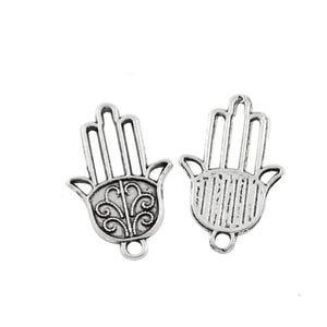 Antique Silver Tibetan Zinc Hamsa Hand Of Fatima Charms 22mm Pack Of 20 ZX11515