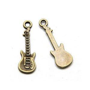Steampunk Antique Bronze Tibetan Zinc Guitar Charms 24mm Pack Of 5 ZX11525