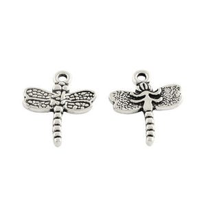 Antique Silver Tibetan Zinc Dragonfly Charms 20mm Pack Of 15 ZX11530