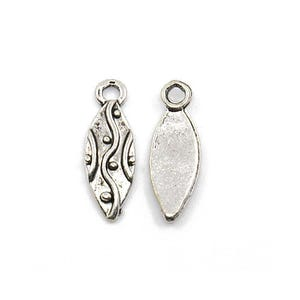 Antique Silver Tibetan Zinc Oval Charms 17mm Wholesale 3 Packs Of 5 BB-ZX11540