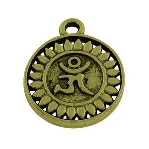 Steampunk Antique Bronze Tibetan Zinc Om Charms 15mm Pack Of 20 ZX11590