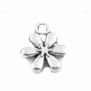 Antique Silver Tibetan Zinc Flower Charms 13mm Pack Of 20 ZX11765