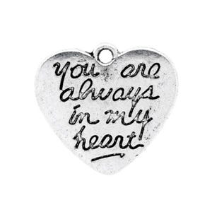 Antique Silver Tibetan Zinc Always In My Heart Charms 21mm Pack Of 4 ZX11830