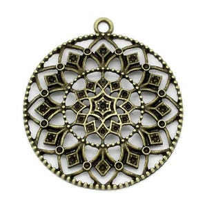 Steampunk Antique Bronze Tibetan Zinc Flower Pendants 43mm Pack Of 2 ZX12140