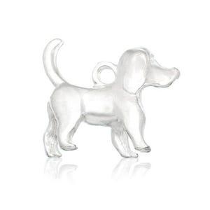 Silver Tibetan Zinc Dog Charms 16mm Pack Of 6 ZX12165