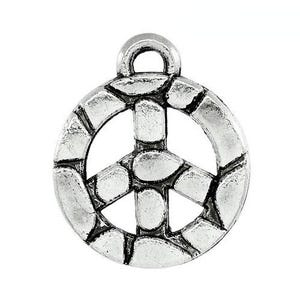 Antique Silver Tibetan Zinc Peace Sign Charms 15mm Pack Of 10 ZX13135
