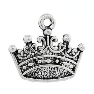 Antique Silver Tibetan Zinc Crown Charms 18mm Pack Of 8 ZX13155
