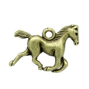 Steampunk Antique Bronze Tibetan Zinc Horse Charms 23mm Pack Of 5 ZX13315