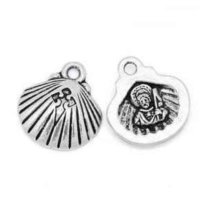 Antique Silver Tibetan Zinc Shell Charms 18mm Pack Of 4 ZX13425