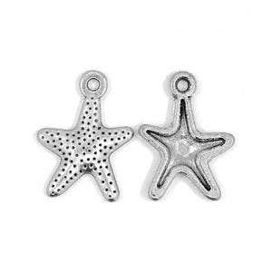 Antique Silver Tibetan Zinc Starfish Charms 16mm Pack Of 30 ZX13665