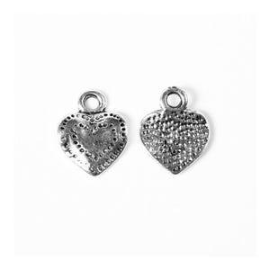 Antique Silver Tibetan Zinc Heart Charms 13mm Pack Of 30 ZX13700