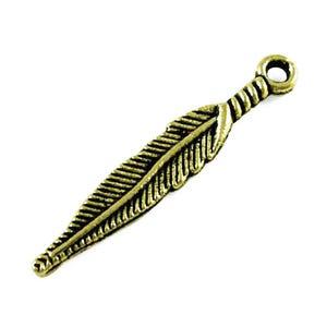 Steampunk Antique Bronze Tibetan Zinc Feather Pendants 29mm Pack Of 12 ZX14105