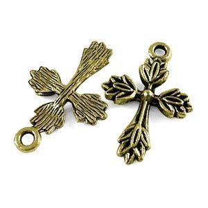 Steampunk Antique Bronze Tibetan Zinc Cross Pendants 25mm Pack Of 30 ZX14130
