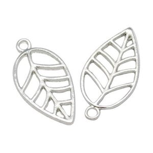 Antique Silver Tibetan Zinc Leaf Charms 23mm Pack Of 30 ZX14755