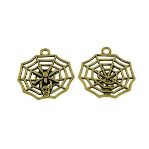 Steampunk Bronze Tibetan Zinc Spider Web Pendants 30mm Pack Of 10 ZX15350