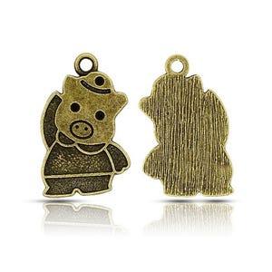 Steampunk Antique Bronze Tibetan Zinc Pig Pendants 27mm Pack Of 15 ZX15880
