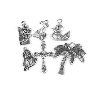 Antique Silver Tibetan Zinc Easter Charms 17-28mm Wholesale 3 Packs Of 6 BB-ZX16620