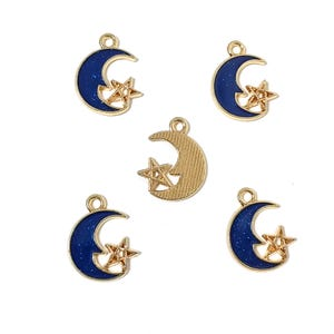 Gold/Dark Blue Zinc Alloy Moon & Star Charms 16mm x 20mm Pack Of 5 ZX19015