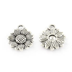 Antique Silver Metal Alloy Sunflower Charms 15.5mm x 18mm Pack Of 30 ZX19020