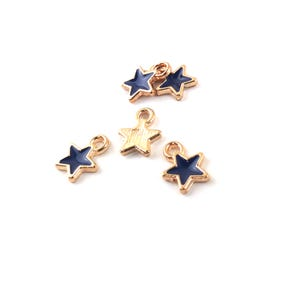 Gold/Dark Blue Enamel & Alloy Star Charms 6.5mm x 8.5mm Pack Of 5 ZX19035